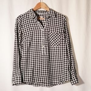Merona black and white check shirt